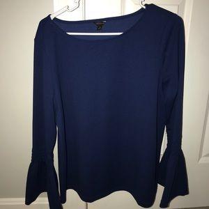 Ann Taylor deep blue bell sleeve blouse